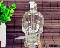 Wholesale transparent hookah pot resale online - Hookah Hookah Transparent glass skull pot color random delivery