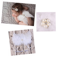 Wholesale Diamante Wings - 20 sets Baby Angel Wing + pearl diamante flower Thin Elastic headband Set Pretty Angel Fairy white feathers Wing Costume Photo Prop YM6110