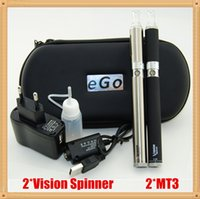 Wholesale pink vision spinner e cigarette resale online - Vision Spinner Electronic cigarette kit with Vision Spinner e cigarette Variable Voltage battery and MT3 atomizer Vision Double Starter Kit