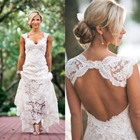 Wholesale Simple Elegant Chapel Train - Sexy Backless Lace Wedding Dresses Bohemian Boho Beach Bridal Dresses Ivory A-Line Hollow Chapel Train Elegant V neck Wedding Gowns