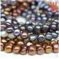 Wholesale Paint Color Pearl - Natural pearl paint color irregular shaped baroque pearl necklace bohemian semi-finished products