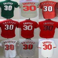 Wholesale Griffey S - Factory Outlet Cheap Custom Mens Womens Kids Toddlers Cincinnati 30 Ken Griffey Jr. Green Grey Red White Flex Cool Base Baseball Jerseys