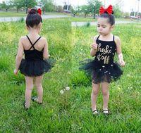 Wholesale Wholesale Show Girl Clothing - 2016 girl lace skirt dancing condole belt splicing net yarn princess dress cheap baby clothes show children summe rdress 5pcs