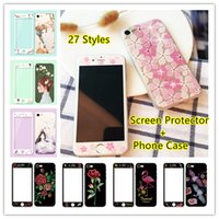 Wholesale Girl Glasses Iphone Case - Colorful Screen Protector Tempered Glass and Phone Case Set For iPhone 7 7Plus 6 6s Plus Soft TPU Girl Cute Phone Cover