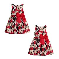 Wholesale Kids Big Tutu Dresses - Retail 2-7Y 2015 summer style Minnie Mouse princess dress for kids girls with big bow party children's dresses baby girl clothes 201508HX