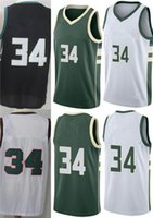 Compra Maglie Milwaukee-Buck Milwaukee # 34 Giannis Antetokounmpo Verde Bianco Nero Embroideried 2017-18 New Style 100% Stitched Basketball Jersey