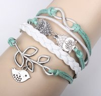 Wholesale Lucky Leaf Branch Bird - New Unisex Infinity Owls & Lucky Branch Leaf and Lovely Bird Charm Bracelet in Silver - Mint Green Wax Cords and Leather Braid
