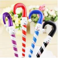 bolígrafo precioso regalo al por mayor-Lindo diseño de paraguas Bolígrafo para estudiantes Regalos Lovely Cartoon Christmas Snowman Ballpoint Pen 20pcs / lot Suministros de escritura de oficina