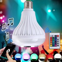Wholesale Intelligent Stage Lights - Intelligent Magic E27 Light Bulb RGB White Colorful LED Lamp Bluetooth 3.0 Speaker with Remote Control for Home Stage 110V 220V AC