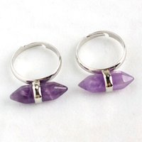 Wholesale Pointed Stone Ring Wholesale - Amethyst Aventurine etc Natural Stone Double Point Chakra Mini Hexagon Prism Adjustable Finger Rings Charms Amulet Fashion Jewelry 10pcs