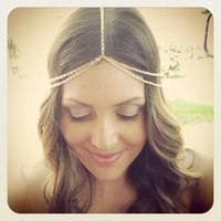 Wholesale Headband Chains - Free Shipping New summer 2015 fashion alloy Metal Bohemian Boho beach hair jewelry chain forehead head women wedding hair ornaments