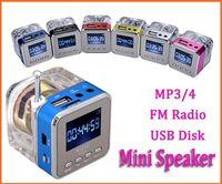 Wholesale Iphone4 Speakers - Nizhi TT-028 LED Crystal Mini Speaker Portable Speakers FM TF U Disk LCD Display Subwoofer for iPhone4 5 6 MP4 3Music Player 50PCS