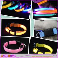 halskette für zwei lieben großhandel-8colors LED bunte doppelseitige helle blinkende Hundekatze Safty Leinen-Kragen-justierbare nette Liebes-Haustier-Halskette freies Verschiffen