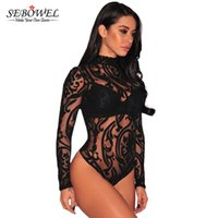 Wholesale Transparent Sexy Spandex - SEBOWEL 2017 Women Sexy Print Long Sleeve Transparent Lace Bodysuit Womens Spandex Black Pink Turtleneck Mesh Bodysuit Overalls q1113