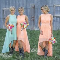 Wholesale Neon Greens Dress - 2018 New Romantic High Low Neon Peach Bridesmaid Dresses with Lace Appliqued Country Bridesmaid Dresses Wedding Party Dresses Custom Made