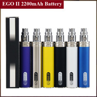 Wholesale E Cig New Design - New Design eGo II Battery 2200mAh Large Capacity eGo 2 E Cig Battery for Aspire Mini Aerotank Turbo Mega Atlantis All 510 Atomizers