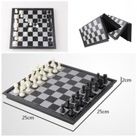 """Wholesale Magnetic Checkers - chic kid's gift Folding Champions Chess Set 2 in 1 Travel Magnetic Chess and Checkers Set 9.84"""" D714J"""