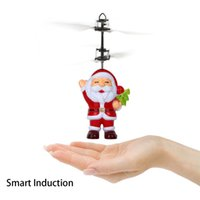 Wholesale Rc Toy Heli - Santa Claus Drone Suspension Hand Induction Anti-Impact Flying Toy RC Heli Luminous Light Up Helicopter Xmas Gift