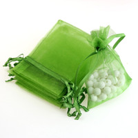 Wholesale Candy Bags Tulle - 7x9cm Green Organza Jewelry Gift Bags Tulle Favor Bag Party Gift Favor Candy Lollipop Customed Logo Printed 100pcs lot Wholesale