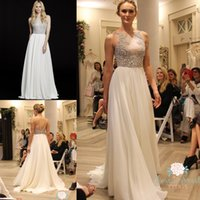 Wholesale Gems Chiffon Dresses - 2015 New Arrivals Hayley Paige Bridal Gowns Luxurious Gems Bodice A Line Halter Open Back Court Train Beach Summer Chiffon Wedding Dresses