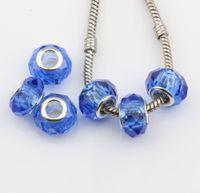 ingrosso barili marroni-Hotl! 200 pz blu sfaccettato cristallo di vetro perline grande foro adatto braccialetti di fascino gioielli fai da te