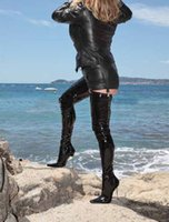 """Wholesale Shiny Black High Heels - extreme hgih heel New women 12CM high heels 5"""" heels Black pu Shiny unisex leather boots,sexy women thigh high boots sex fetish crotch boots"""