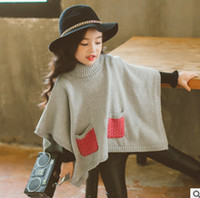 Wholesale Cotton Sleeveless Turtleneck Wholesale - Baby girls poncho capes autumn new children knitting turtleneck sweater cloaks kids plaid double pocket princess shawl coat R1157