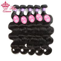 reinas productos para el cabello cuerpo onda al por mayor-Productos para el cabello de la reina Los tejidos vírgenes de Malasia 5pcs paquetes 100% Onda del cuerpo humano ondulado cabello humano 12