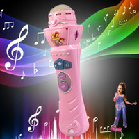 Wholesale Pink Kids Microphone - New Wireless Girls boys LED Microphone Mic Karaoke Singing Kids Funny Gift baby music toys Pink for children #TX