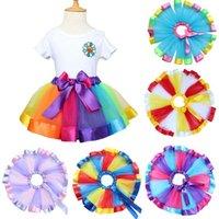 Wholesale Little Girl Dance - Baby Girl Tutu Skirt Children's Colorful Rainbow Skirt Infant Kids Party Skirt Little Girl Summer Fluffy Dance Skirts OOA3599