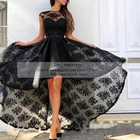 Wholesale High Low Couture Dresses - Fashion Black Plus Size Lace Evening Couture Dresses Prom Gowns 2015 A Line Crew Cap Sleeves High Low Arabic Red Carpet Celebrity Gowns