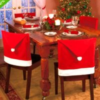 Wholesale Fabric Chair Covers - 2016 Newest Chair Covers Santa Red Hat Chair Covers Christmas Decorations Dinner Chair Christmas Party Chair Cap Sets Free Shipping MYF270