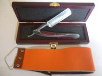 ingrosso coltelli da scatola-Rasoio da barba in acciaio inossidabile con bordo dritto per capelli Barbiere pieghevole + panno per coltelli regalo