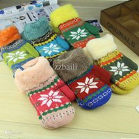 Wholesale Baby Snow Gloves - Wholesale-Hot Sale Winter Warm Neck Hung Baby Gloves Snow burr package Mittens For 1-8years old children