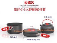 Wholesale Outdoor Camping Cook Sets - 2-3 persons Outdoor Camping Picnic Cooking Cookware Pot Frying Pan Kettle Sets Suits,Wholesale,Free Shipping,CW-C19T 5pcs Set