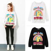 Wholesale sweater rainbow woman - Women Rainbow Unicorn Hoodie Sweatshirt Pullover Top Sweater Horse Printed Loose Hoodie Blouse Pullover Jumper Sweaters 50pcs OOA3375