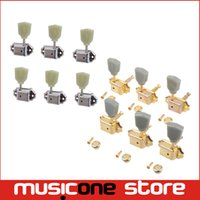 Wholesale Guitar Tuning Buttons - 3R3L Chrome Gold Vintage Guitar Deluxe Tuning Pegs Machine Heads Greenish Button Free shipping MU0476