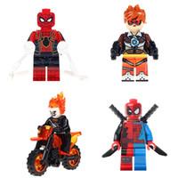 Wholesale Ghost Kid - Building Blocks Minifigures Action Bricks Super Heroes Bat Tracer Ghost Rider Deadpool Christmas Kids Gift Assembled Toys 4pcs set