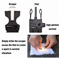 Wholesale Survival Bracelet Whistle Clasp - 5pcs lot 3 4inch flint fire starter shackles cut Scraper buckles whistle clasp For paracord bracelet outdoor survival tool