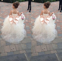 Wholesale Short Wedding Dress Big Bows - 2016 Pageant Dresses For Girls Spaghetti Rhinestone Flower Girl Dresses Big Bow Kids Ball Gowns Wedding Dress Sash Tulle Beading Belt