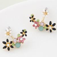 Wholesale korean flower earrings jewelry - 2015 Fashion Korean Gold Crystal Stud Earrings Bijoux Women Earrings Flower boucle d'oreille Fashion Jewelry Women Accessories