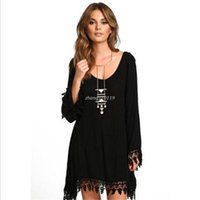 Wholesale Hot Loose Casual Dresses - HOT Fashion Women Long Sleeve Tassel Sexy Loose DRESS Summer Beach Black Short Mini Dresses Free Shipping