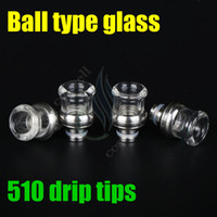 Wholesale 8mm Bearings - E-cigarette Ball type glas Drip Tip 510 glass mouthpieces 8mm Wide Bore Drip Tip fit Vape MOD RDA RBA atomizer Dark horse hellboy
