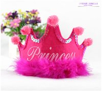 Wholesale Plush Costumes For Adults - Birthday Crown Plush hat party hats hair accessory prince princess for party decorations adult child crown hat costume jewelry PA04