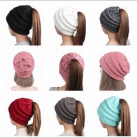 Wholesale Hair Holes - Ponytail Stretchy Knitted Beanie Cap Women Winter Warm Hole Ski Hat High Bun Hair Stretchy Beanies 11 Colors 20pcs OOA3386