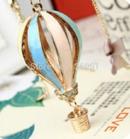 Wholesale Wholesale Hot Air Balloon Plates - Vintage Gold Enamel Colorful Hot Air Balloon Necklaces Charms Statement Choker Necklaces Pendant Women Fashion Jewelry Gift Accessories NEW