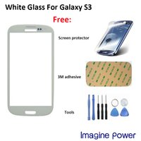 Wholesale Sumsung S3 Screen - Wholesale-For Sumsung Galaxy S3 i9300 white replacement front glass screen + free s3 screen protector + free tool + free adhesive