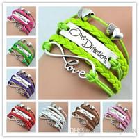 Wholesale Dress One Direction - Fashion One Direction Bracelets dress Bangles Love Bracelet Double Hearts Style Charming jewellery Luxury Leather Infinity braided Bracelet