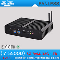 Wholesale Thin Clients China - Embeded Mini PC Thin Client Computer Case i7 5500u with Dual HD Dual COM Dual Lan