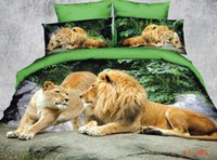 Wholesale Unique Printed Bedding - 6pc 100% cotton unique 3d Africa Lion Painting bedding sets Duvet quilt comforter cover Full queen king size bed linen sheets bedclothes set